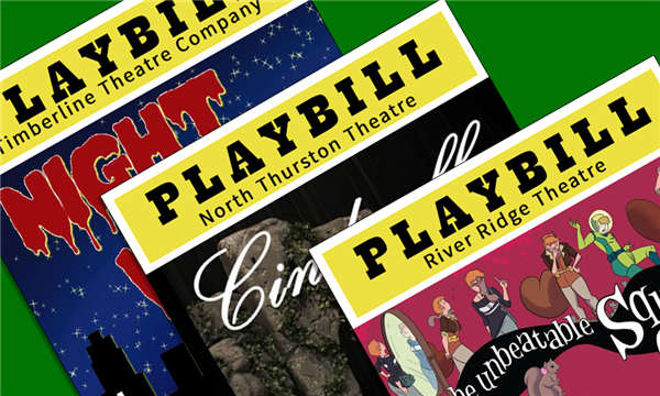 A collection of playbills for the three high school drama productions.