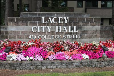 Lacey City Hall front sign.