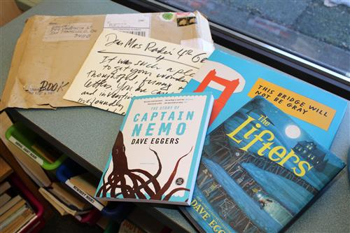 The things Dave Eggers sent them, including the letter.