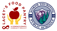 Lacey's Food Pantry Compassionate Community Project logo next to the NTPS District logo graphic