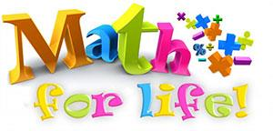 Logo: 'Math for Life' with math symbols in different colors.