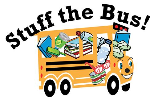 Graphic of bus stuffed with supplies (logo element).