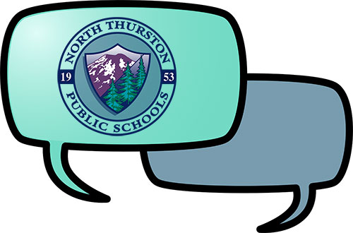 Text bubbles one with the NTPS logo inside.