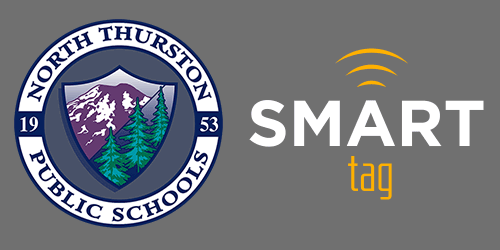 North Thurston Public Schools & Smart Tag Logo on a black background