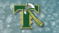 Timberline Logo on a snowflakes background.