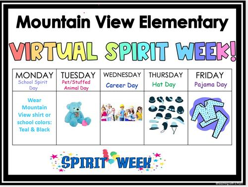 Virtual Spirit Week- Monday, October 26 - Friday, October 30