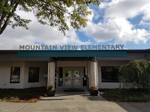 Front door view of Mountain View Elementary school