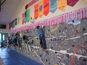 Mountain View Students climbing on the climbing wall in the gym.