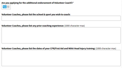 volunteer coach application questions