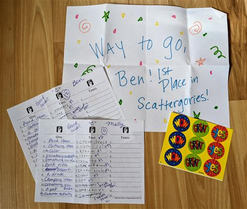pen pals playing scattergories by mail