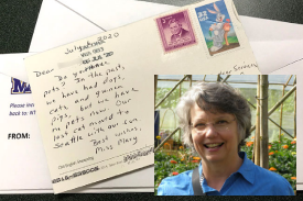 Volunteer Mary Bartholomew and one of her pen pal postcards