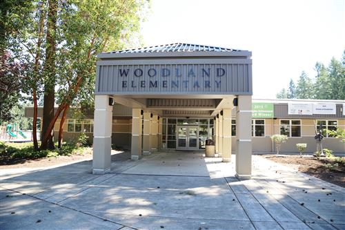 Woodland Elementary's front entrance.