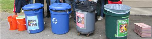 Garbage cans and composting cans.