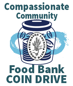 Compassionate Community Food Bank Coin Drive graphic with jar filled with coins.