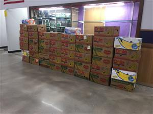 Banana Boxes stacked and ready for the food bank