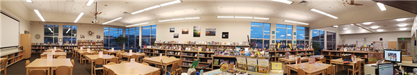 Panoramic view of the Salish Middle School library