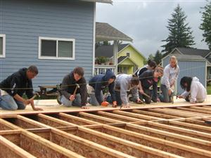 Tri-M Members Building a House with Habitat for Humanity