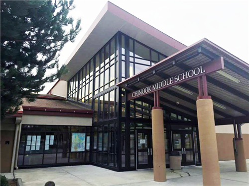 A photo of the front door of the Chinook Middle School Building