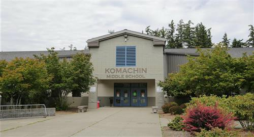 Komachin Middle School front entrance photo.