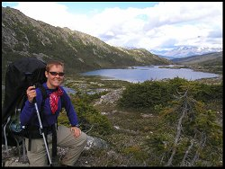 Mrs. Hughes climbing the Chilkoot Pass