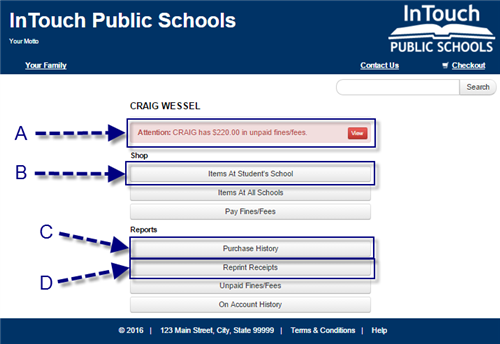 Touchbase Screenshot of inside a student's profile once selected - options for their school, fees, and reports.
