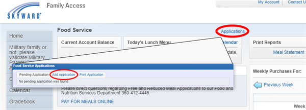 Screenshot of Skyward to submit a Free & Reduced Lunch Application