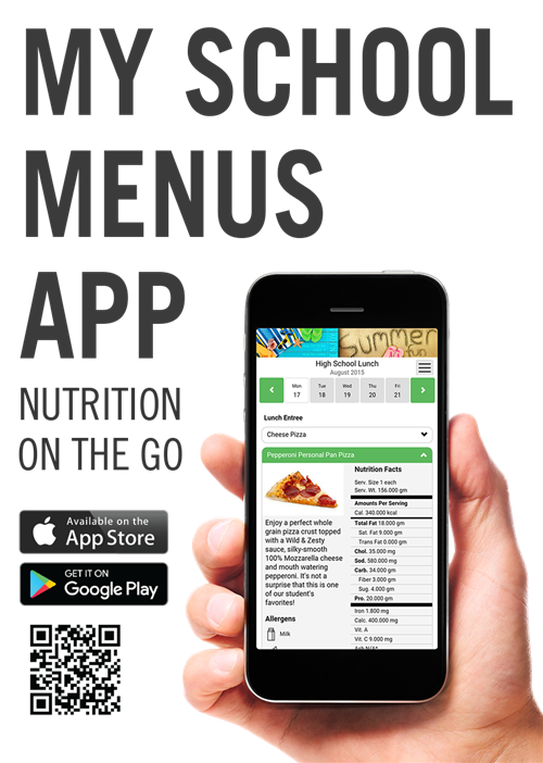 My School Menus App QR code to download. Hand holding phone with app screen on it.
